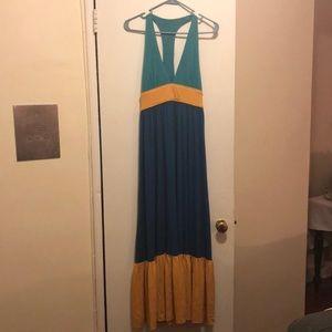 Aqua, Blue and Mustard Maxi dress